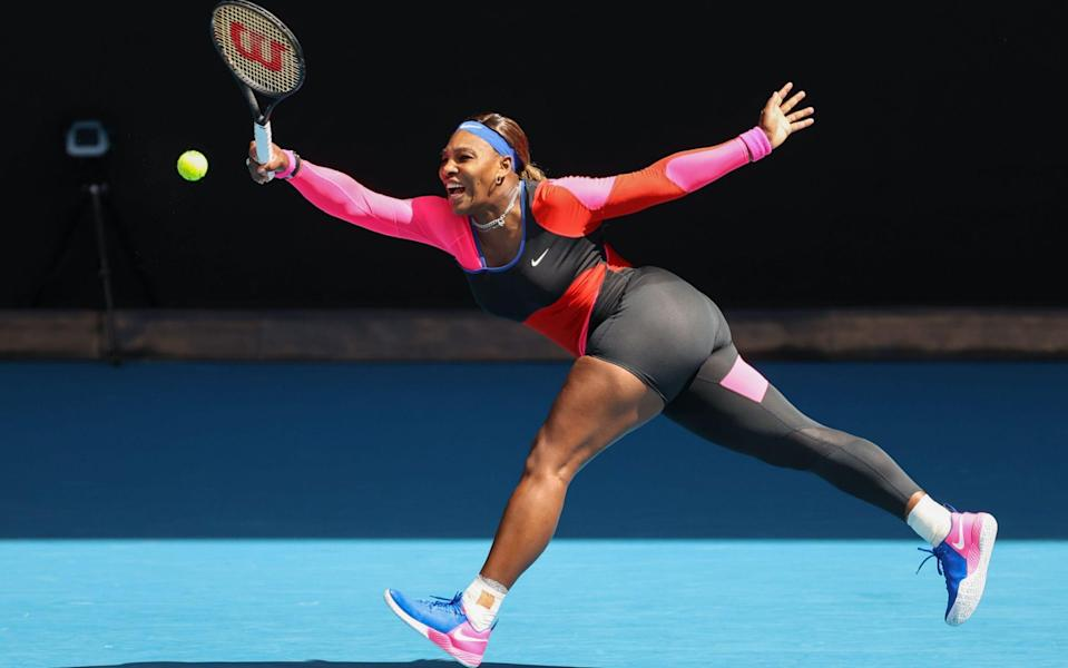 Serena Williams of the US hits a return against Belarus' Aryna Sabalenka during their women's singles match on day seven of the Australian Open tennis tournament in Melbourne on February 14, 2021 - Getty Images