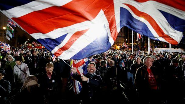 PHOTO: A man waves a British flag on Brexit day in London, Jan. 31, 2020.  (Henry Nicholls/Reuters, FILE)