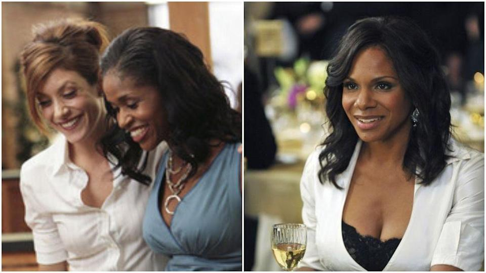 """<p>Before Audra McDonald took on the role, Naomi was played by Merrin Dungey. <em><a href=""""https://variety.com/2007/tv/news/behind-the-dung-22855/"""" rel=""""nofollow noopener"""" target=""""_blank"""" data-ylk=""""slk:Variety"""" class=""""link rapid-noclick-resp"""">Variety</a></em> reported that the switch was """"partly a chemistry thing between Merrin and Taye Diggs, who played Naomi's estranged husband, Sam."""" The outlet also suggested the recasting was hard for EP Shonda Rhimes, since she's close friends with Merrin.</p>"""
