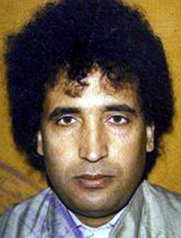FILE - Undated file photo, issued by the British Crown Office of Abdel Baset al-Megrahi, the Libyan man found guilty of the Lockerbie bombing. al-Megrahi who was found guilty of the 1988 Lockerbie bombing of a PanAm flight over Scotland that killed 270 people, was released from a Scottish prison in 2009 on compassionate grounds after being diagnosed with a fatal cancer. He was reported by his son to have died Sunday May 20 2012. (AP Photo/Crown Copyright)