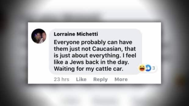 Michetti says this Facebook comment was made in a discussion about the federal Liberals' plans to enact new gun control laws. She said she has apologized for the post, but also defended the comparison during a council meeting.