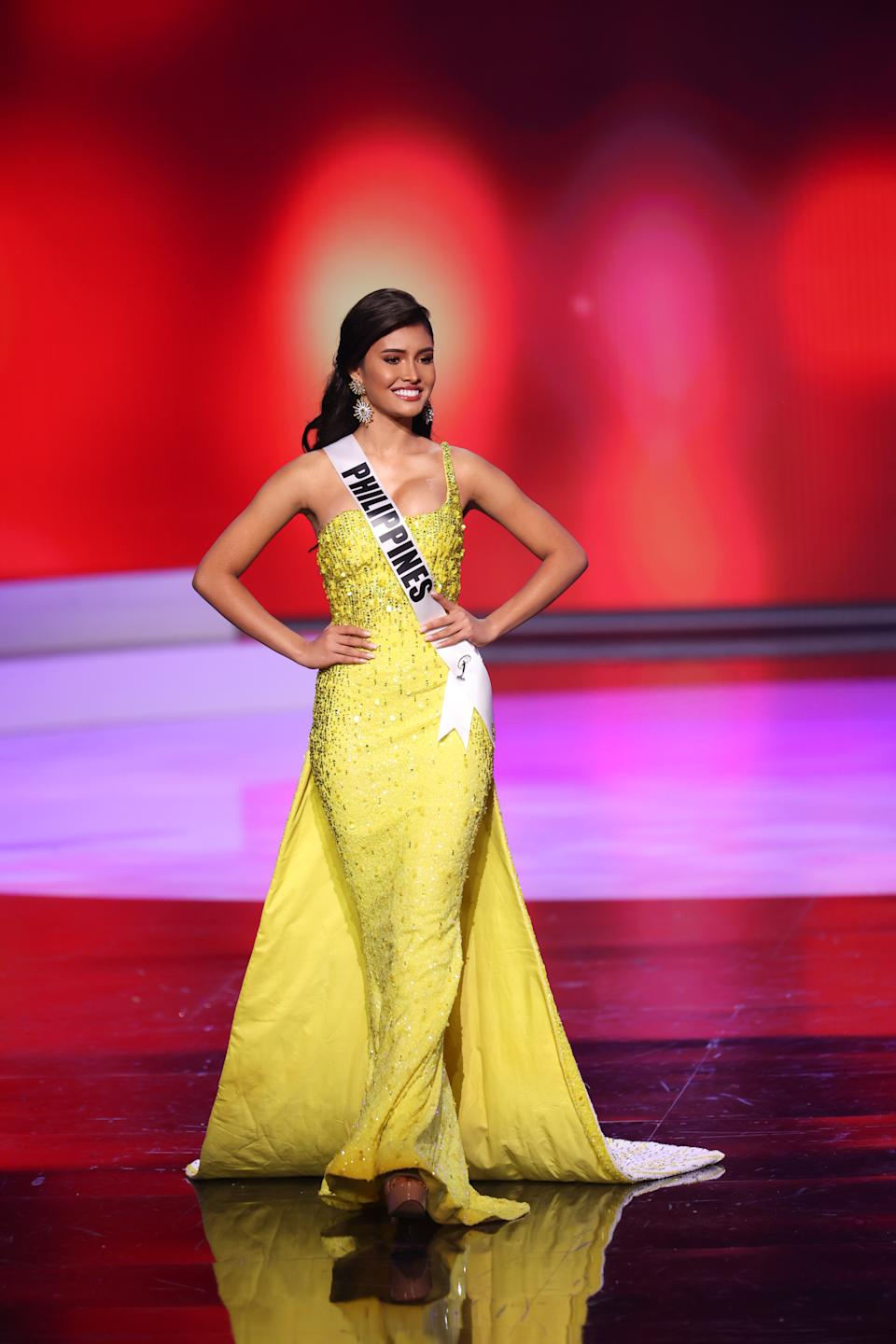 <p>Miss Philippines Rabiya Mateo appears onstage at the Miss Universe 2021 Preliminary Competition at Seminole Hard Rock Hotel & Casino on May 14, 2021 in Hollywood, Florida. (Photo by Rodrigo Varela/Getty Images).</p>
