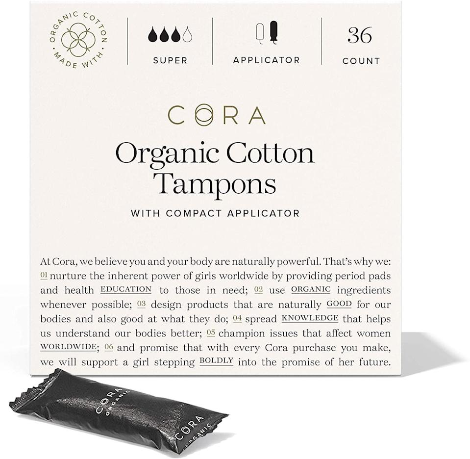 <p>One of the more popular organic tampon options on Amazon, the <span>Cora Organic Cotton Tampons</span> ($16) feature BPA-free plastic applicators and are free of pesticides, bleach, fragrance, and rayon, and the brand claims they are hypoallergenic. I'm a big fan of these tampons, but I do wish the applicator had a slightly larger section to place your fingers on while inserting. That being said, I have never had a leaking issue while using them.</p>