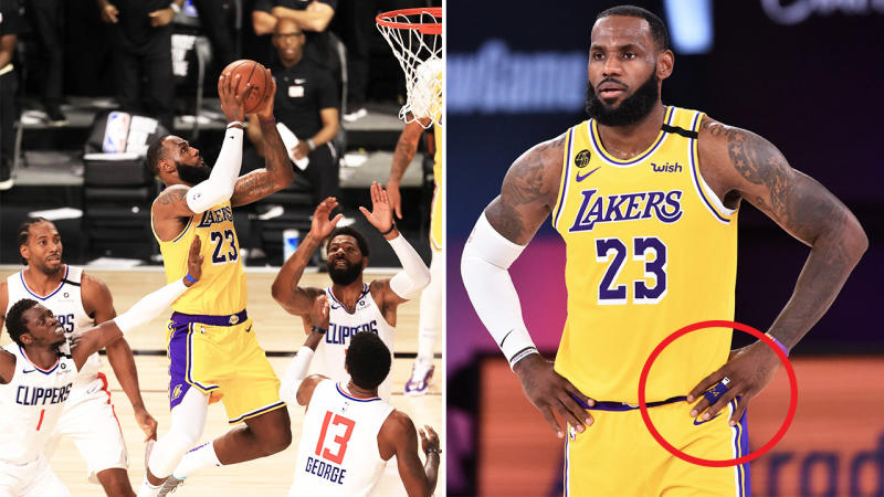 LeBron James (pictured left) soaring through the air hitting the game winner and (pictured right) with a tribute to Kobe Bryant.