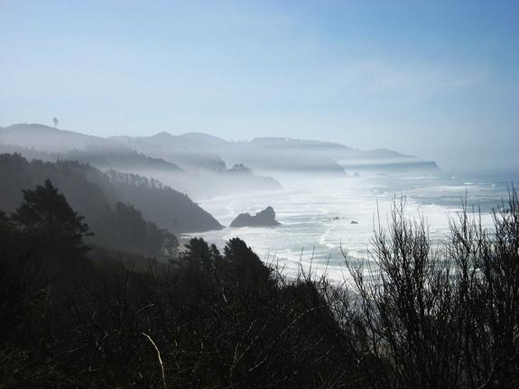 Fog lends a creepy air to the Oregon coast in this 2009 image.