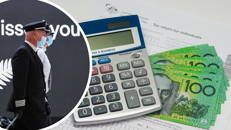 Image of tax form, calculator, AUD as well as image of pilots