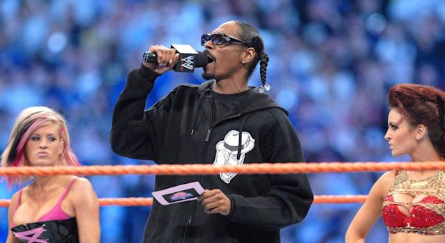 Rapper Snoop Dogg worked hard – and played hard – during his WWE skit with Anthony Carelli's Santino Marella character. (Photo by George Napolitano/FilmMagic)