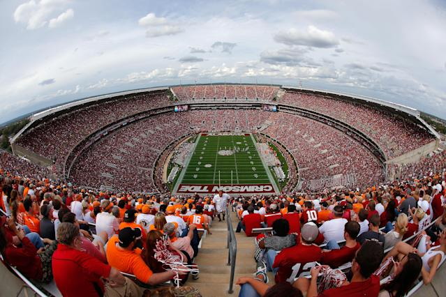 Members of a construction crew working at Bryant-Denny Stadium have tested positive for the coronavirus. (Photo by Kevin C. Cox/Getty Images)
