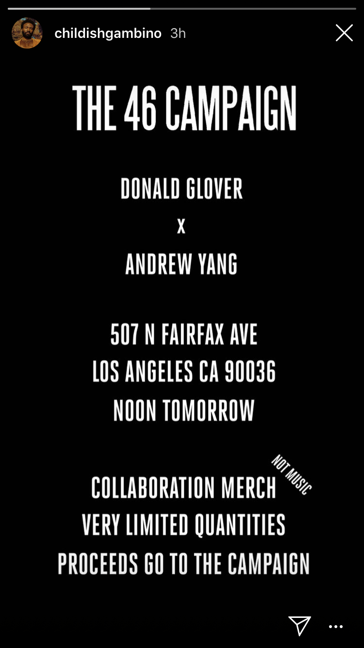 donald glover andrew yang instagram campaign event