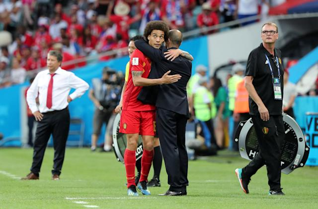 Soccer Football - World Cup - Group G - Belgium vs Panama - Fisht Stadium, Sochi, Russia - June 18, 2018 Belgium's Axel Witsel hugs Belgium coach Roberto Martinez as he is substituted off REUTERS/Marcos Brindicci