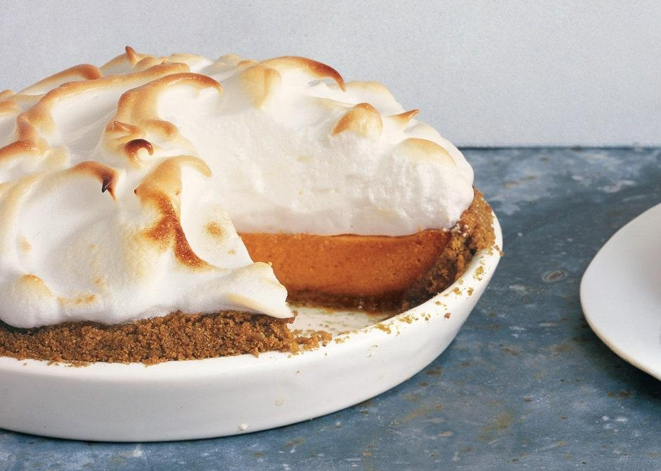 """This sweet potato pie has everything you want... especially marshmallow creme. <a href=""""https://www.bonappetit.com/recipe/sweet-potato-pie-with-marshmallow-meringue?mbid=synd_yahoo_rss"""" rel=""""nofollow noopener"""" target=""""_blank"""" data-ylk=""""slk:See recipe."""" class=""""link rapid-noclick-resp"""">See recipe.</a>"""