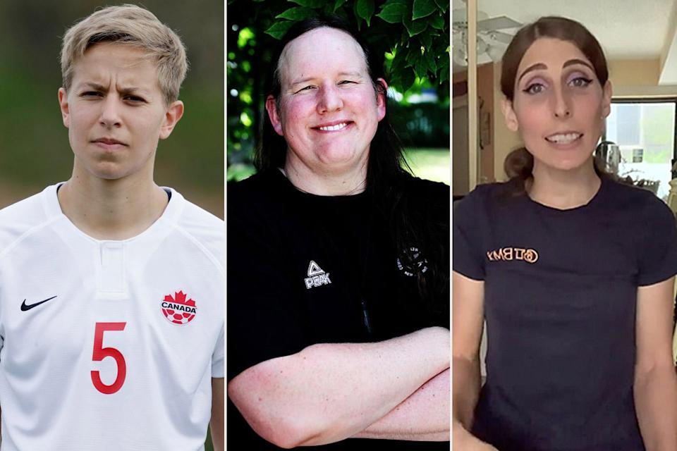 """<p>Though the International Olympic Committee (IOC) has welcomed transgender athletes to compete in the Olympics since 2004, no one has done so openly until now, the <a href=""""https://apnews.com/article/2020-tokyo-olympics-womens-soccer-soccer-sports-tokyo-529470da7b781eb3c7f95ca0c610f7a8"""" rel=""""nofollow noopener"""" target=""""_blank"""" data-ylk=""""slk:Associated Press"""" class=""""link rapid-noclick-resp"""">Associated Press</a> reported.</p> <p><a href=""""https://people.com/sports/tokyo-olympics-canadian-soccer-player-talks-being-the-first-openly-trans-athlete-to-compete/"""" rel=""""nofollow noopener"""" target=""""_blank"""" data-ylk=""""slk:Quinn"""" class=""""link rapid-noclick-resp"""">Quinn</a>, a member of the Canadian women's soccer team, made history as the first openly transgender athlete to participate in the Olympics during a July 24 game against Japan.</p> <p>Other trans athletes to watch are Laurel Hubbard, a women's weight lifter competing for New Zealand, and Chelsea Wolfe, a reserve member of Team USA's BMX Freestyle team. According to the outlet, they're not alone, either.</p> <p>""""In addition to Quinn, Hubbard and Wolfe, some transgender athletes are competing without discussing their transition,"""" per the AP.</p>"""
