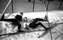 <p>Hollywood power couple Tony Curtis and Janet Leigh strike a silly pose on a ski slope, January 2, 1958. </p>