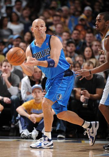 DENVER, CO - MARCH 19: Jason Kidd #2 of the Dallas Mavericks makes a pass against Arron Afflalo #6 of the Denver Nuggets on March 19, 2012 at the Pepsi Center in Denver, Colorado. (Photo by Garrett W. Ellwood/NBAE via Getty Images)