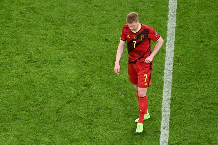 Belgium midfielder Kevin De Bruyne trudges off after defeat to Italy in Munich