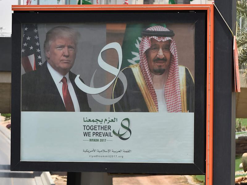 A giant billboard in Riyadh celebrates Donald Trump's trip to Saudi Arabia: AFP/Getty Images