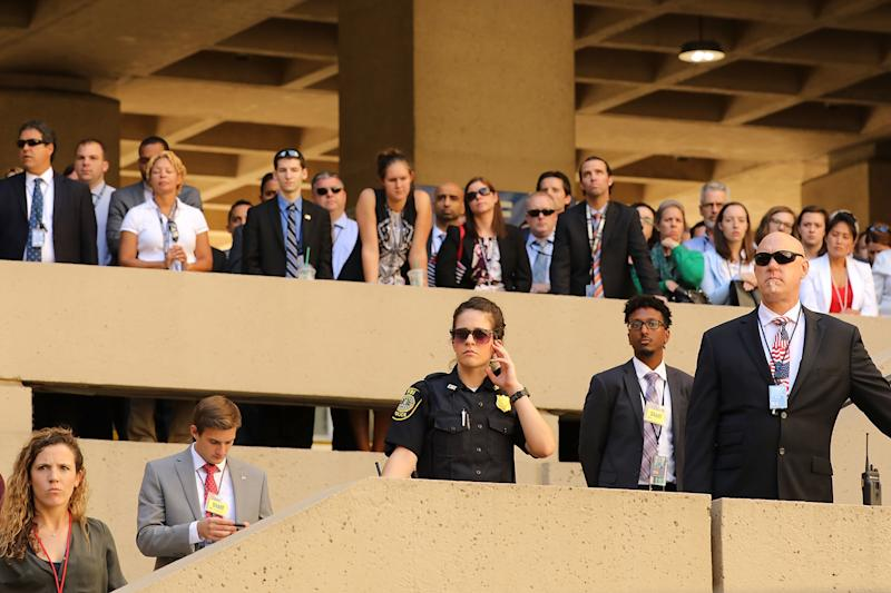 FBI employees and guests look on during the ceremony. (Chip Somodevilla via Getty Images)