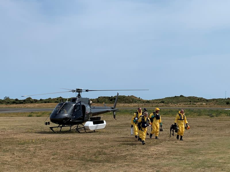 New Zealand Police Search and Rescue and Disaster Victim Identification staff return to Whakatane after conducting a search for bodies in the aftermath of the eruption of White Island volcano