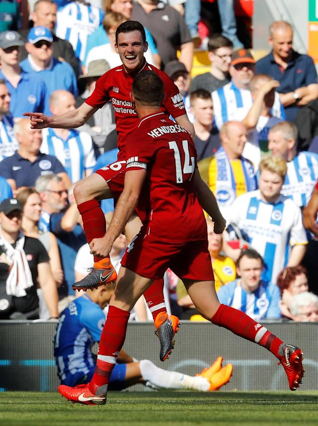 "Soccer Football - Premier League - Liverpool vs Brighton & Hove Albion - Anfield, Liverpool, Britain - May 13, 2018 Liverpool's Andrew Robertson celebrates scoring their fourth goal REUTERS/Phil Noble EDITORIAL USE ONLY. No use with unauthorized audio, video, data, fixture lists, club/league logos or ""live"" services. Online in-match use limited to 75 images, no video emulation. No use in betting, games or single club/league/player publications. Please contact your account representative for further details."