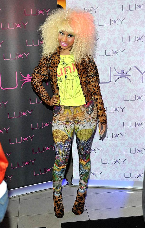 """Rapper Nicki Minaj looked like a hot mess from head to toe while hosting Super Bass at Toronto's Luxy nightclub. Seriously, I don't even know where to begin! Sonia Recchia/<a href=""""http://www.wireimage.com"""" target=""""new"""">WireImage.com</a> - August 14, 2011"""