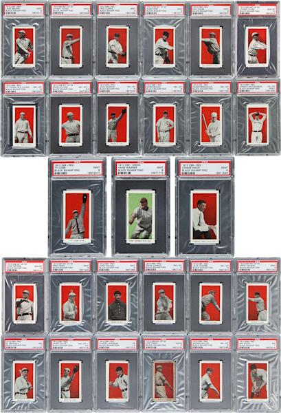 This undated photo provided by Heritage Auctions of Dallas, shows some of the more than 700 well-preserved 1910 baseball cards found in the attic of a house in Defiance, Ohio. The best of the bunch _ 37 cards _ are expected to bring a total of $500,000 when they are sold at auction in August during the National Sports Collectors Convention in Baltimore. (AP Photo/ Heritage Auctions)