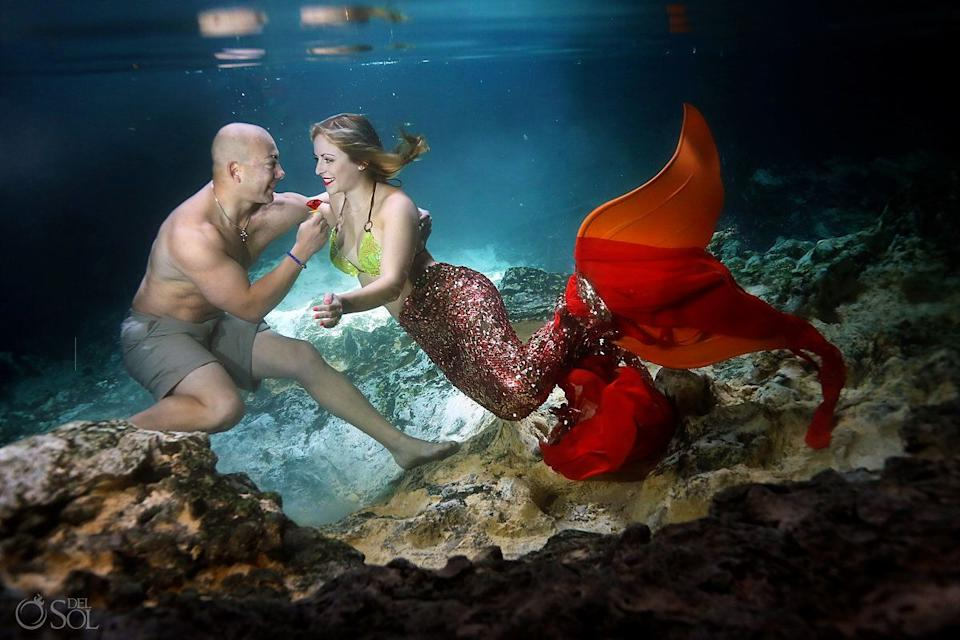 """Polly chose to make the mermaid tail red so it would really pop against the color of the water. (Photo: <a href=""""https://www.instagram.com/delsolphoto/"""" target=""""_blank"""">Del Sol Photography</a>)"""