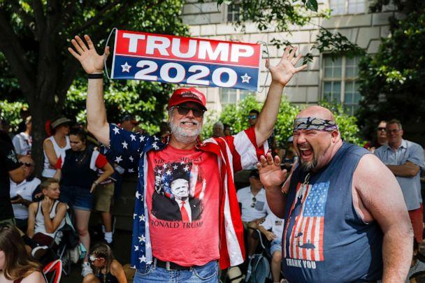 PHOTO: Supporters of President Donald Trump join others to watch an Independence Day parade along Constitution Avenue in Washington, D.C., July 4, 2019. (Erik S Lesser/EPA via Shutterstock)