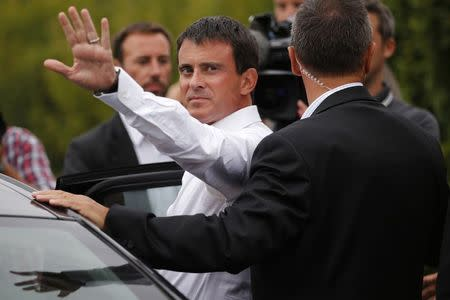 "French PM Valls is seen during the Socialist Party's ""Universite d'ete"" summer meeting in La Rochelle"
