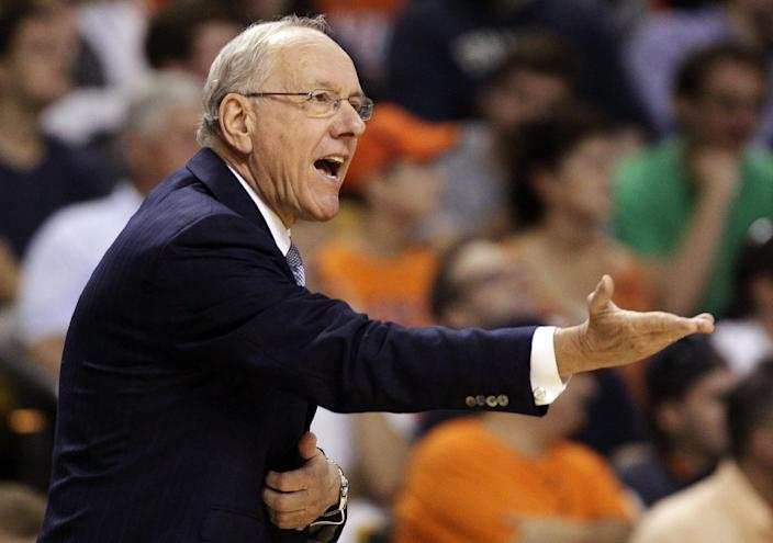 Syracuse head coach Jim Boeheim shouts instructions to his team in the first half of an East Regional semifinal game against Wisconsin in the NCAA men's college basketball tournament, Thursday, March 22, 2012, in Boston. (AP Photo/Michael Dwyer)