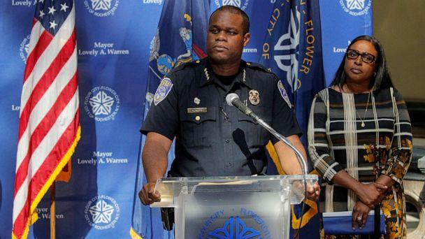PHOTO: Rochester Police Chief, La'Ron Singletary speaks during a news conference with Mayor Lovely Warren regarding the protests over the death of a Black man, Daniel Prude in Rochester, N.Y., Sept. 6, 2020. (Brendan Mcdermid/Reuters, FILE)