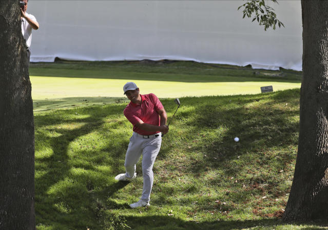 Francesco Molinari of Italy approaches the first green during the first round of the WGC-Mexico Championship golf tournament, at Chapultepec Golf Club in Mexico City, Mexico City, Thursday, Feb. 20, 2020.(AP Photo/Fernando Llano)