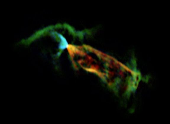 Astronomers using the Atacama Large Millimeter/submillimeter Array (ALMA) have obtained a vivid close-up view of material streaming away from a newborn star. By looking at the glow coming from carbon monoxide molecules in an object called Herbi
