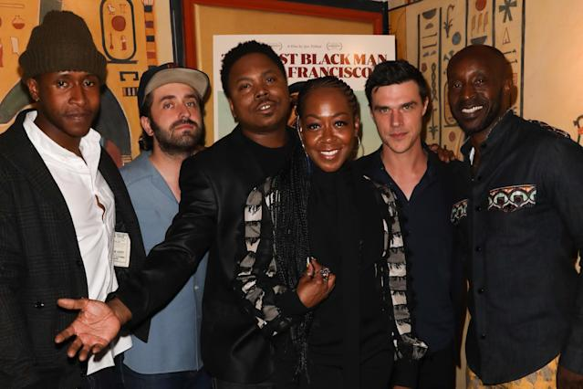 """LOS ANGELES, CALIFORNIA - JUNE 03: (L-R) Jimmie Fails, Joe Talbot, Willie Hen, Tichina Arnold, Finn Wittrock and Rob Morgan attends the special screening of """"The Last Black Man In San Francisco"""" at the Vista Theatre on June 03, 2019 in Los Angeles, California. (Photo by Paul Archuleta/Getty Images)"""