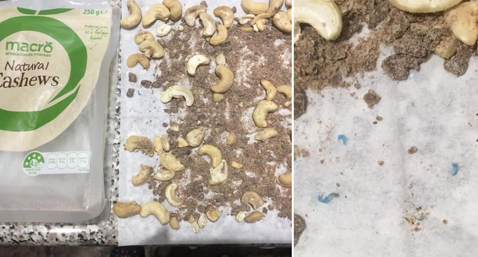 a customer finds 'brown mystery' stuff in her Woolworths purchased cashews