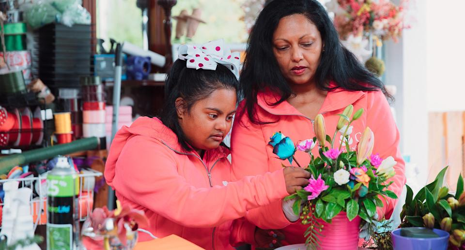Gayana and Githa Wijewickrema working at GG's Flowers and Hampers. Photo: Supplied