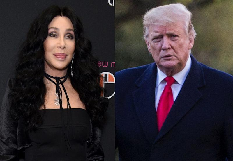 "While Trump praised a tweet Cher posted about immigration, she made it clear she doesn't share any common ground with the ""thug"" president. (Photos: Getty Images)"