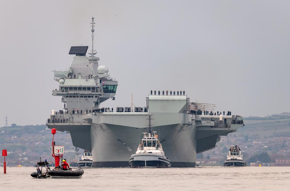 The £3.2bn aircraft carrier leads the UK Carrier Strike Group. (SWNS)