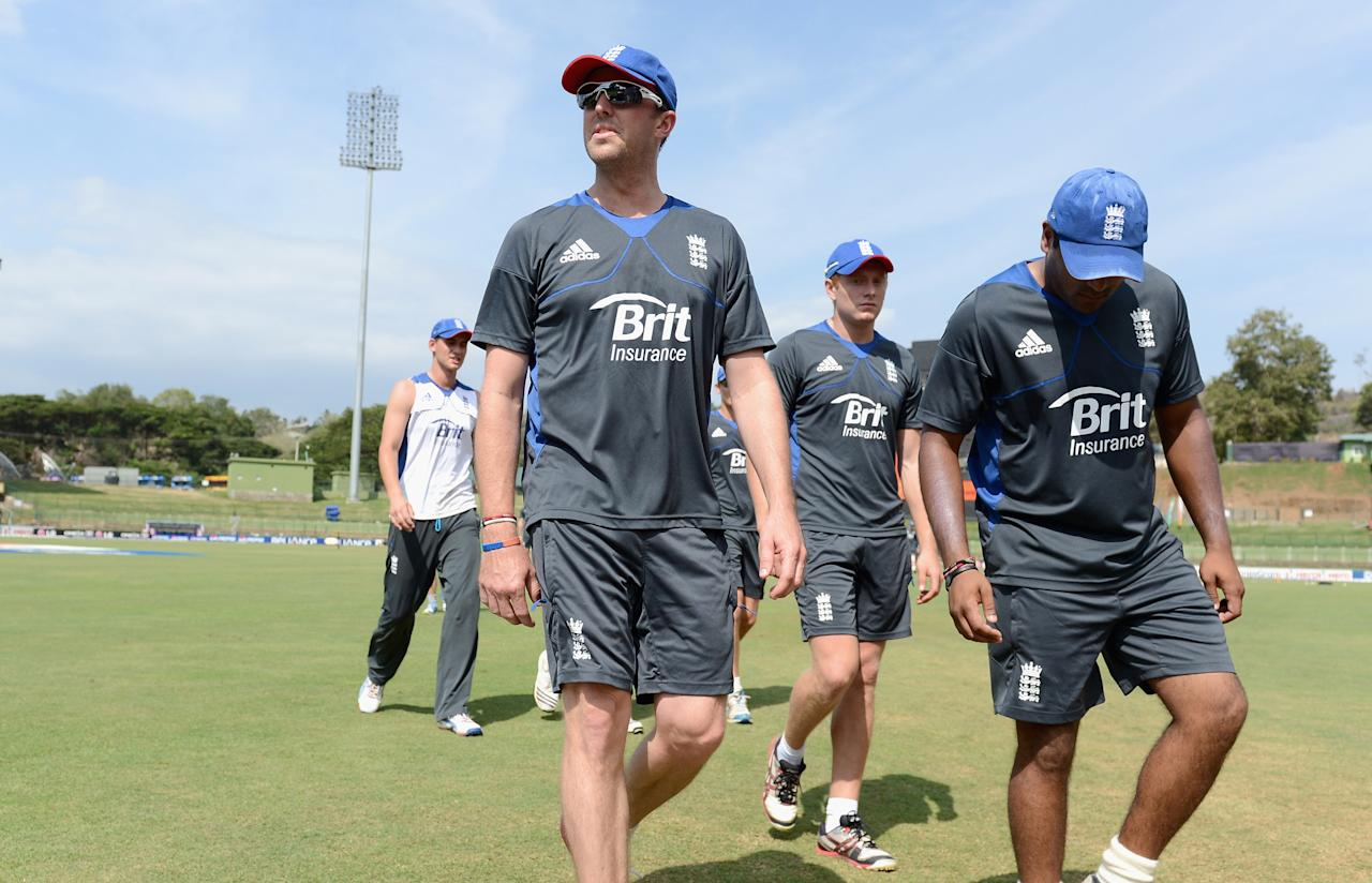 KANDY, SRI LANKA - SEPTEMBER 26:  Graeme Swann, Jonathan Bairstow and Samit Patel of England walk to the nets during a nets session at Pallekele Cricket Stadium on September 26, 2012 in Kandy, Sri Lanka.  (Photo by Gareth Copley/Getty Images,)