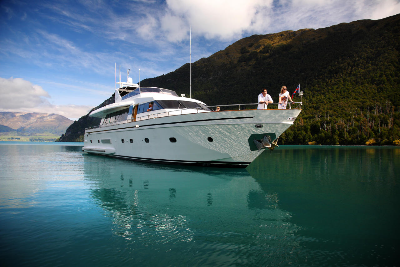 Lake Wakatipu in Queenstown New Zealand, is now home to the 80ft luxury yacht Pacific Jemm. Photo: Supplied/Pacific Jemm
