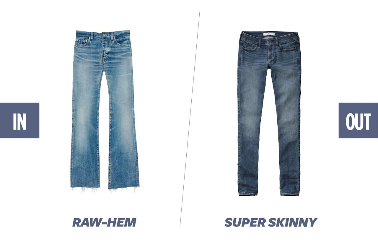 """The """"Vetements-effect"""" cultivated by Demna Gvasalia's ubiquitous asymmetrical-hem jeans are still in full force. You will continue to see raw-hem-style jeans and DIY jagged hems all over this summer. (Photos: Saint Laurent; Hollister)"""