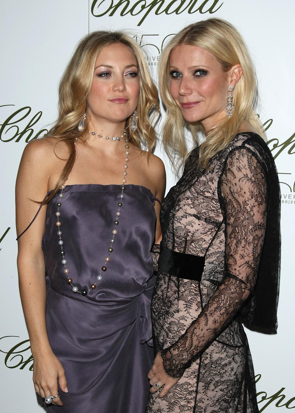 Kate Hudson and Gwyneth Paltrow attend the 150th anniversary of Chopard gala at The Frick Collection in New York, on Thursday, April 29, 2010. (AP Photo/Peter Kramer)