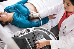 The Philips Affiniti ultrasound system in use