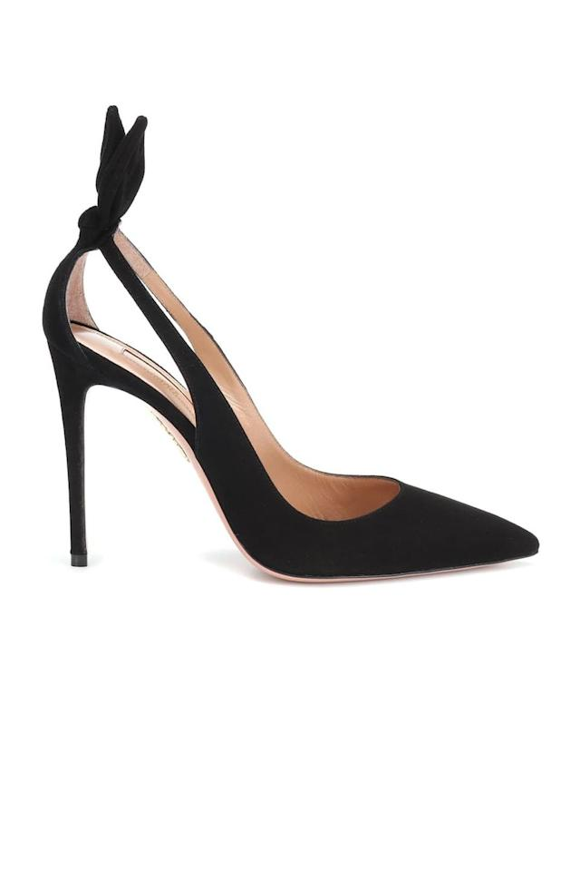 "<p><a class=""body-btn-link"" href=""https://www.net-a-porter.com/gb/en/product/1151214"" target=""_blank"">SHOP NOW</a></p><p>The Duchess of Sussex regularly wears these Aquazzura bow-embellished pumps; take her lead and invest in your own pair.</p><p><em>Shoes, £485, Aquazzura at <a href=""https://www.net-a-porter.com/gb/en/product/1151214"" target=""_blank"">Net-a-Porter</a> </em></p>"
