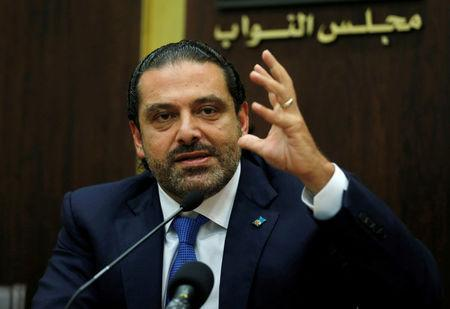 FILE PHOTO: Lebanon's prime minister Saad al-Hariri gestures during a press conference in parliament building at downtown Beirut, Lebanon October 9, 2017. REUTERS/Mohamed Azakir/File Photo