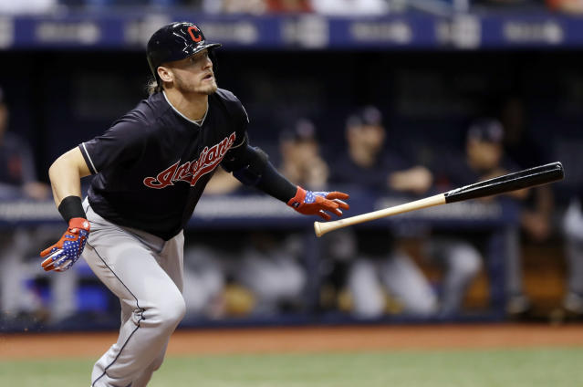 FILE - In this Sept. 11, 2018, file photo, Cleveland Indians' Josh Donaldson flies out to during the fourth inning of a baseball game against the Tampa Bay Rays in St. Petersburg, Fla. The Atlanta Braves added a pair of free agents following their first division titles in five years, agreeing to one-year contract with third baseman Josh Donaldson and catcher Brian McCann. (AP Photo/Chris O'Meara, File)