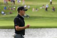 Kramer Hickok reacts after sinking a birdie putt on the 17th green during the third round of the Travelers Championship golf tournament at TPC River Highlands, Saturday, June 26, 2021, in Cromwell, Conn. (AP Photo/John Minchillo)