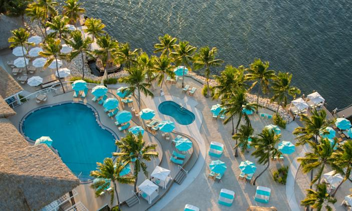 Here's an aerial view of the Bungalows Key Largo.