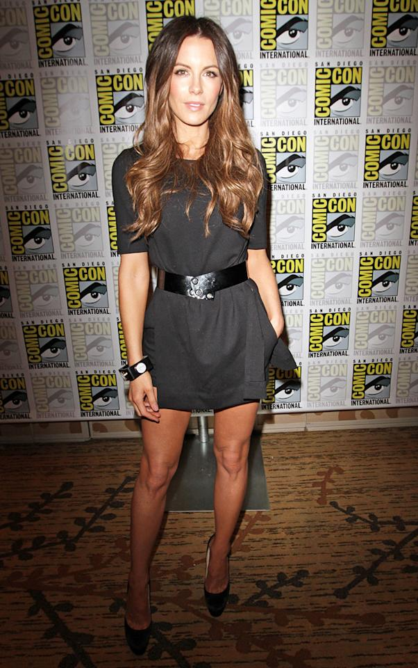 "Also looking lovely at Comic-Con was Kate Beckinsale, who showed off her gorgeous gams in a black, belted mini while on her way into a press conference for ""Underworld: Awakening."" Richie Buxo/<a href=""http://www.splashnewsonline.com/"" target=""new"">Splash News</a> - July 22, 2011"