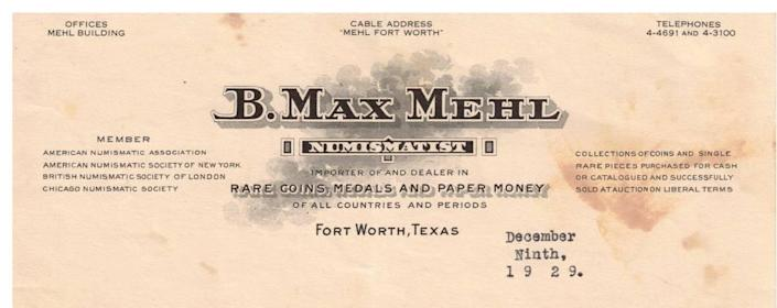 Letterhead stationery of B. Max Mehl, the promotional whiz who turned coin collecting into a mainstream hobby.