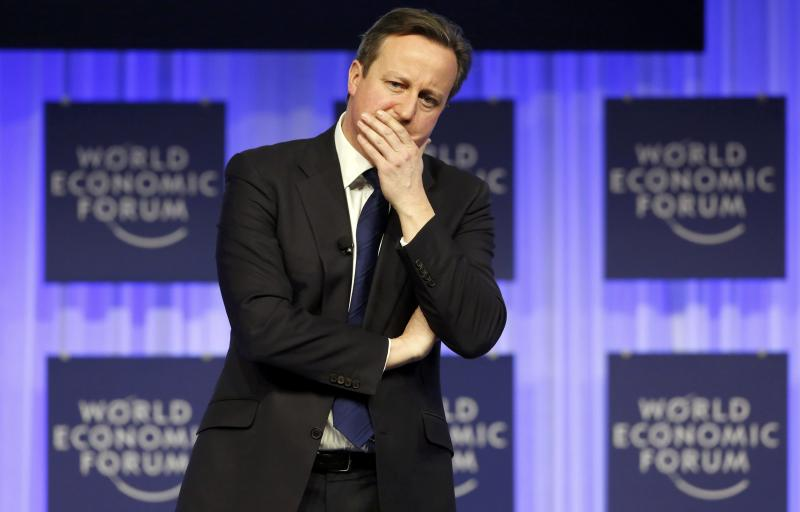 """Britain's Prime Minister David Cameron speaks during a session at the annual meeting of the World Economic Forum (WEF) in Davos January 24, 2014. Cameron told the World Economic Forum in Davos on Friday he was confident he could renegotiate his country's relations with the European Union to allow it to remain in the 28-nation bloc. """"I'm confident that we'll have a successful renegotiation and a successful referendum,"""" he told delegates, referring to his plan to reshape his country's EU ties before offering Britons an in/out referendum if he is re-elected next year. REUTERS/Ruben Sprich (SWITZERLAND - Tags: POLITICS BUSINESS TPX IMAGES OF THE DAY)"""